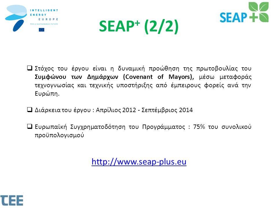 SEAP + (2/2)  Στόχος του έργου είναι η δυναμική προώθηση της πρωτοβουλίας του Συμφώνου των Δημάρχων (Covenant of Mayors), μέσω μεταφοράς τεχνογνωσίας και τεχνικής υποστήριξης από έμπειρους φορείς ανά την Ευρώπη.