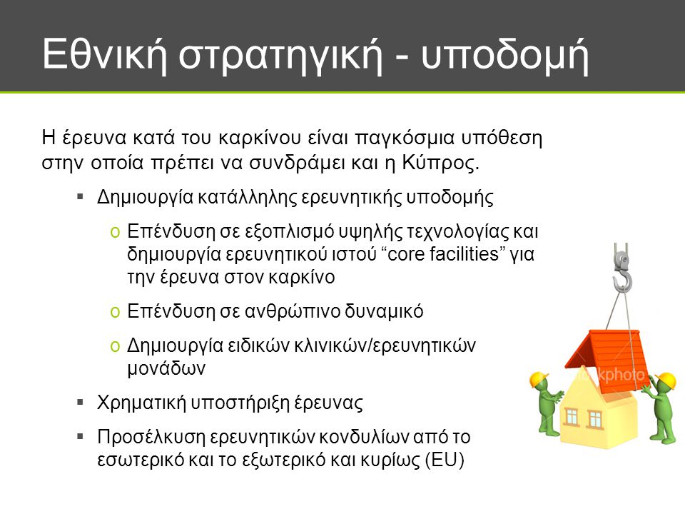 Εθνική στρατηγική - υποδομή Η έρευνα κατά του καρκίνου είναι παγκόσμια υπόθεση στην οποία πρέπει να συνδράμει και η Κύπρος.  Δημιουργία κατάλληλης ερ
