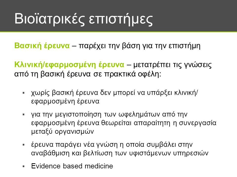 Βιοϊατρικές επιστήμες  χωρίς βασική έρευνα δεν μπορεί να υπάρξει κλινική/ εφαρμοσμένη έρευνα  για την μεγιστοποίηση των ωφελημάτων από την εφαρμοσμένη έρευνα θεωρείται απαραίτητη η συνεργασία μεταξύ οργανισμών  έρευνα παράγει νέα γνώση η οποία συμβάλει στην αναβάθμιση και βελτίωση των υφιστάμενων υπηρεσιών  Evidence based medicine Βασική έρευνα – παρέχει την βάση για την επιστήμη Κλινική/εφαρμοσμένη έρευνα – μετατρέπει τις γνώσεις από τη βασική έρευνα σε πρακτικά οφέλη: