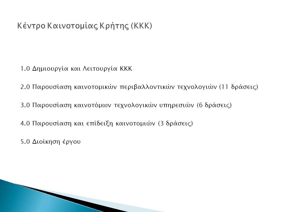 1.0 Δημιουργία και Λειτουργία ΚΚΚ 2.0 Παρουσίαση καινοτομικών περιβαλλοντικών τεχνολογιών (11 δράσεις) 3.0 Παρουσίαση καινοτόμων τεχνολογικών υπηρεσιών (6 δράσεις) 4.0 Παρουσίαση και επίδειξη καινοτομιών (3 δράσεις) 5.0 Διοίκηση έργου