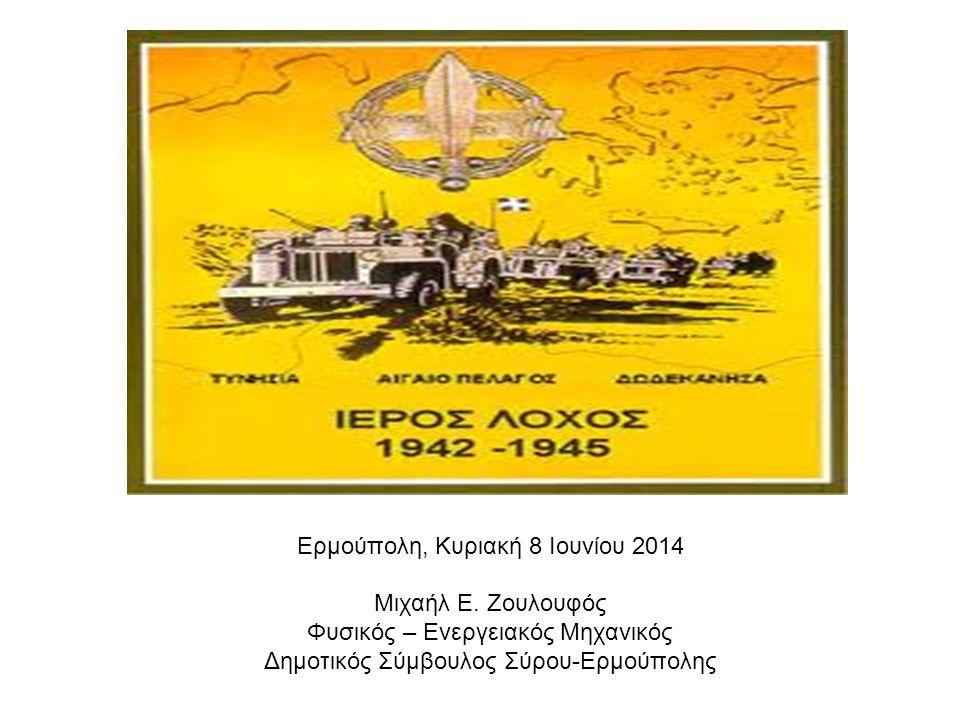 Ερμούπολη, Κυριακή 8 Ιουνίου 2014 Μιχαήλ Ε. Ζουλουφός Φυσικός – Ενεργειακός Μηχανικός Δημοτικός Σύμβουλος Σύρου-Ερμούπολης