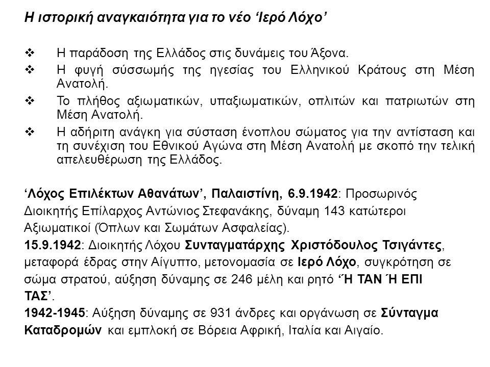 Η ιστορική αναγκαιότητα για το νέο 'Ιερό Λόχο'  Η παράδοση της Ελλάδος στις δυνάμεις του Άξονα.  Η φυγή σύσσωμής της ηγεσίας του Ελληνικού Κράτους σ