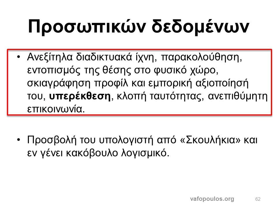 """Οικονομικός κίνδυνος vafopoulos.org 61 •Προώθηση παράνομων και ακατάλληλων προϊόντων για παιδιά, ασαφής διαχωρισμός διαφήμισης-περιεχομένου. •""""Διαγωνι"""