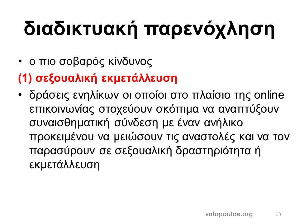 Προσωπικών δεδομένων vafopoulos.org 62 •Ανεξίτηλα διαδικτυακά ίχνη, παρακολούθηση, εντοπισμός της θέσης στο φυσικό χώρο, σκιαγράφηση προφίλ και εμπορι