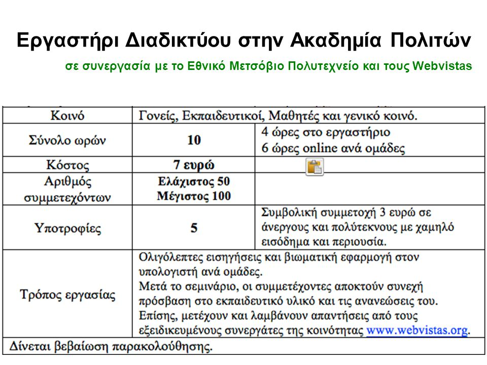 πληροφορίες •www.Vafopoulos.orgwww.Vafopoulos.org •www.Webvistas.orgwww.Webvistas.org •www.Youtube.com/websciencegrwww.Youtube.com/websciencegr •www.Y