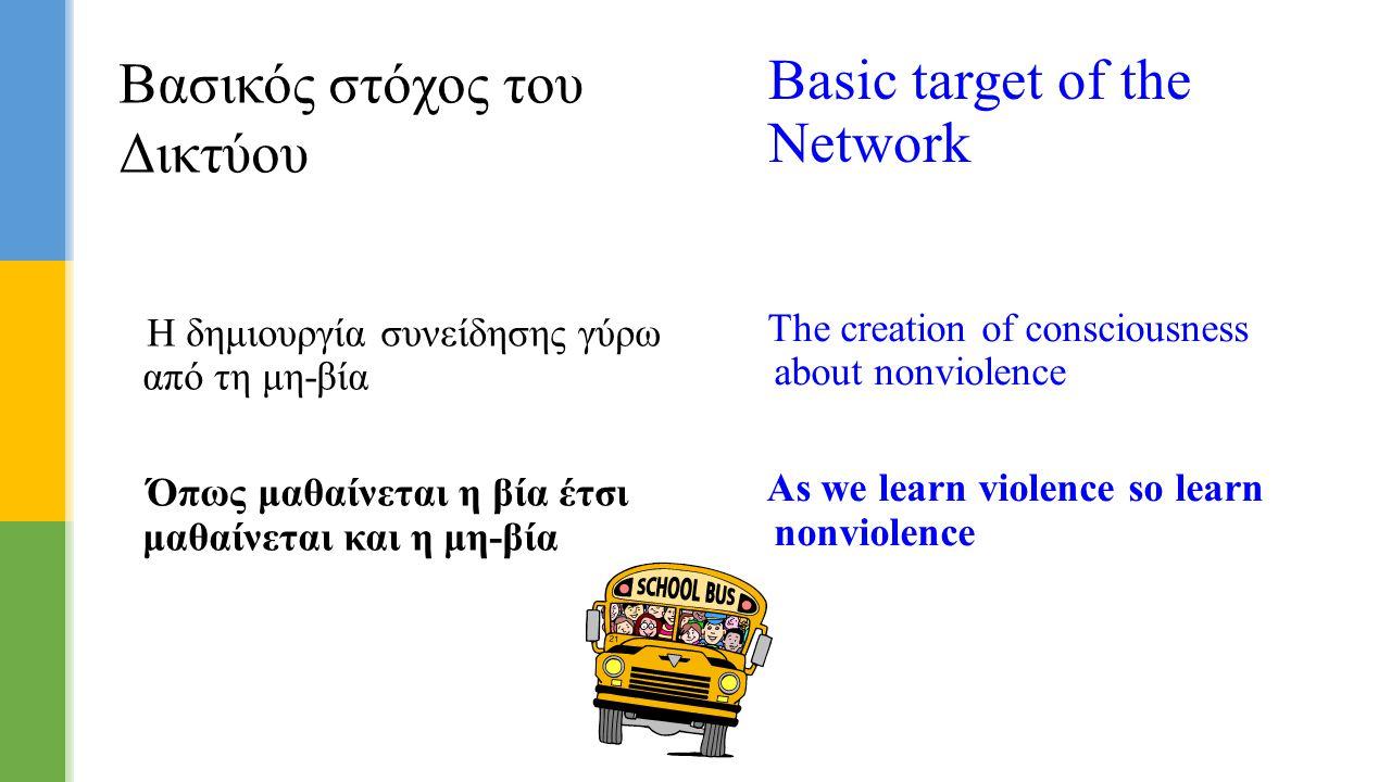 Η δημιουργία συνείδησης γύρω από τη μη-βία Όπως μαθαίνεται η βία έτσι μαθαίνεται και η μη-βία Βασικός στόχος του Δικτύου Basic target of the Network T