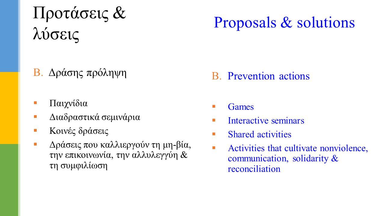 Β. Δράσης πρόληψη  Παιχνίδια  Διαδραστικά σεμινάρια  Κοινές δράσεις  Δράσεις που καλλιεργούν τη μη-βία, την επικοινωνία, την αλλυλεγγύη & τη συμφι