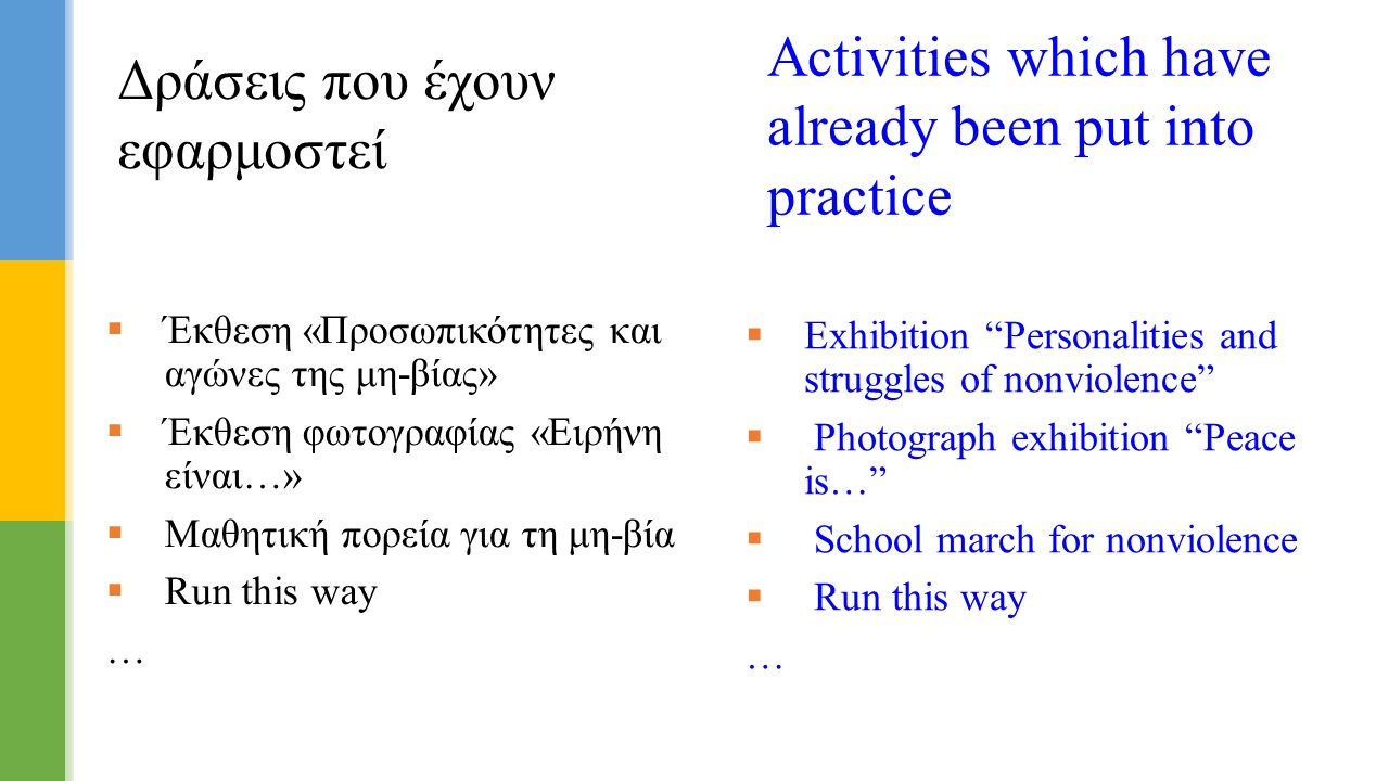  Έκθεση «Προσωπικότητες και αγώνες της μη-βίας»  Έκθεση φωτογραφίας «Ειρήνη είναι…»  Μαθητική πορεία για τη μη-βία  Run this way … Δράσεις που έχο