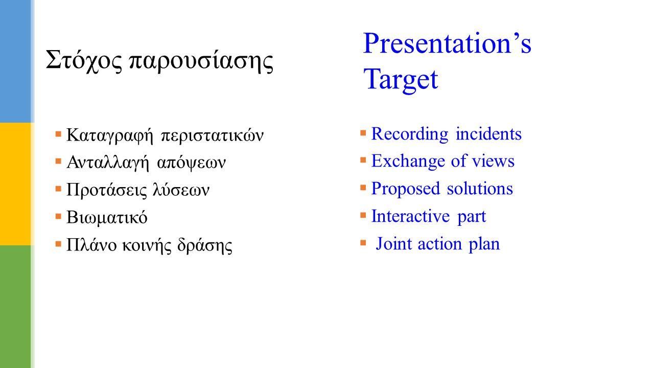 Στόχος παρουσίασης Presentation's Target  Recording incidents  Exchange of views  Proposed solutions  Interactive part  Joint action plan  Καταγ