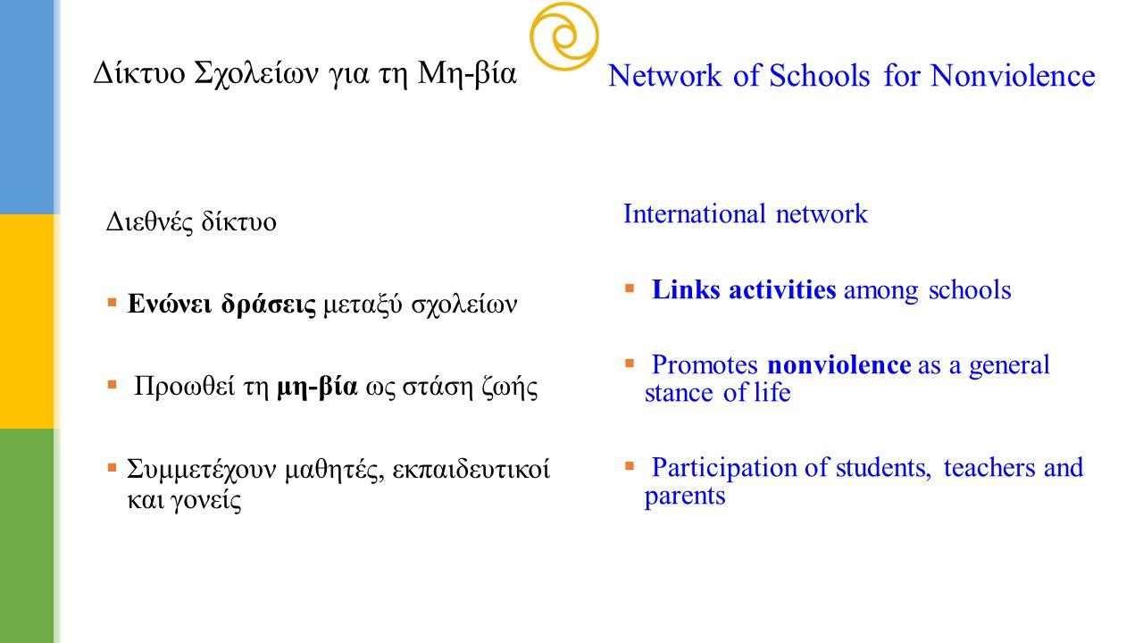 Διεθνές δίκτυο  Ενώνει δράσεις μεταξύ σχολείων  Προωθεί τη μη-βία ως στάση ζωής  Συμμετέχουν μαθητές, εκπαιδευτικοί και γονείς International networ
