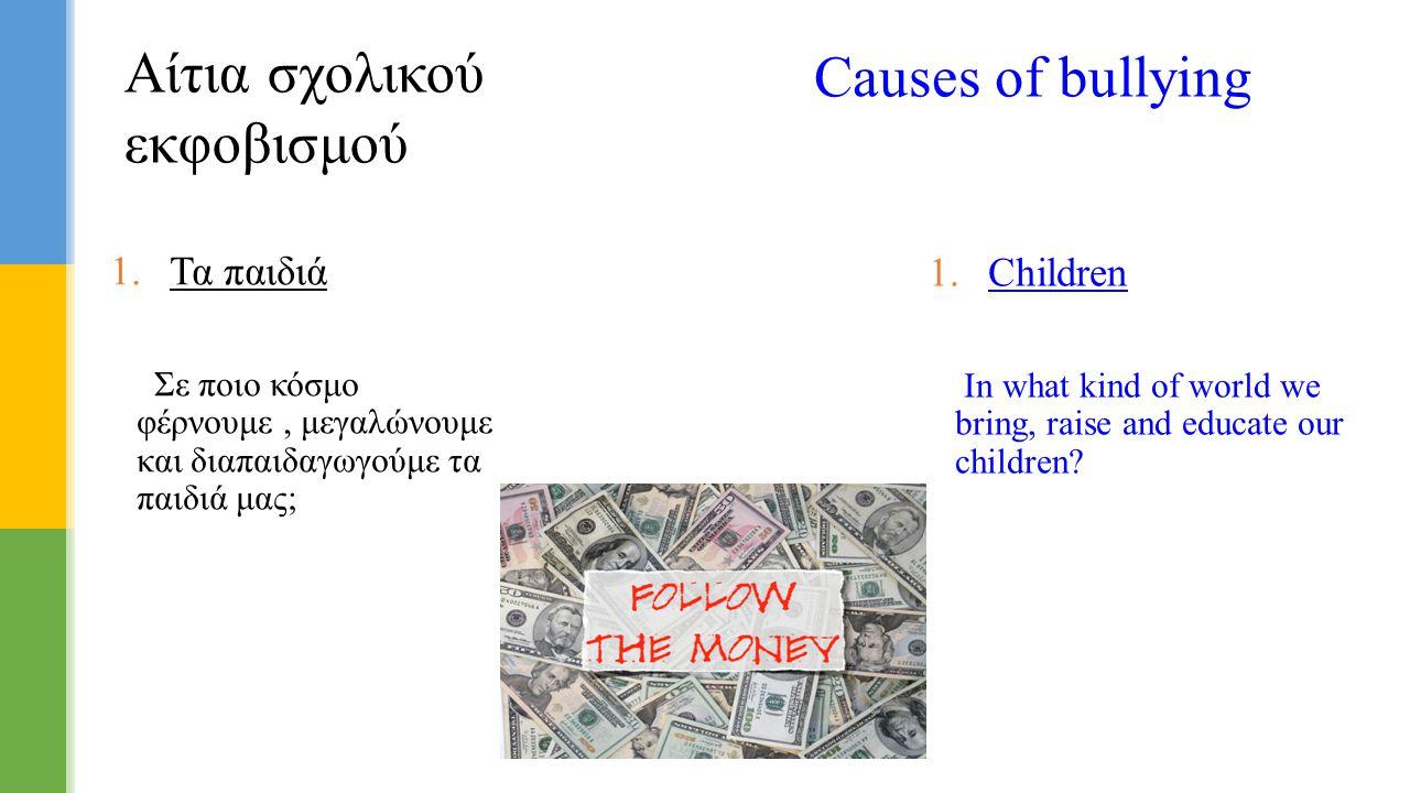  Τα παιδιά Σε ποιο κόσμο φέρνουμε, μεγαλώνουμε και διαπαιδαγωγούμε τα παιδιά μας; Αίτια σχολικού εκφοβισμού Causes of bullying  Children In what k