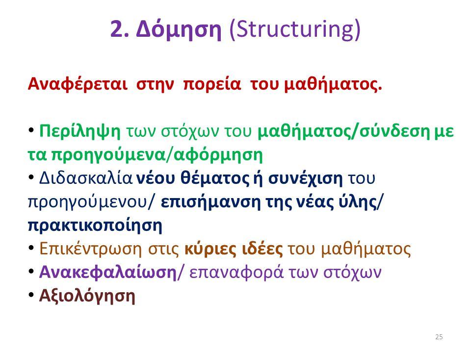 Αναφέρεται στην πορεία του μαθήματος. • Περίληψη των στόχων του μαθήματος/σύνδεση με τα προηγούμενα/αφόρμηση • Διδασκαλία νέου θέματος ή συνέχιση του