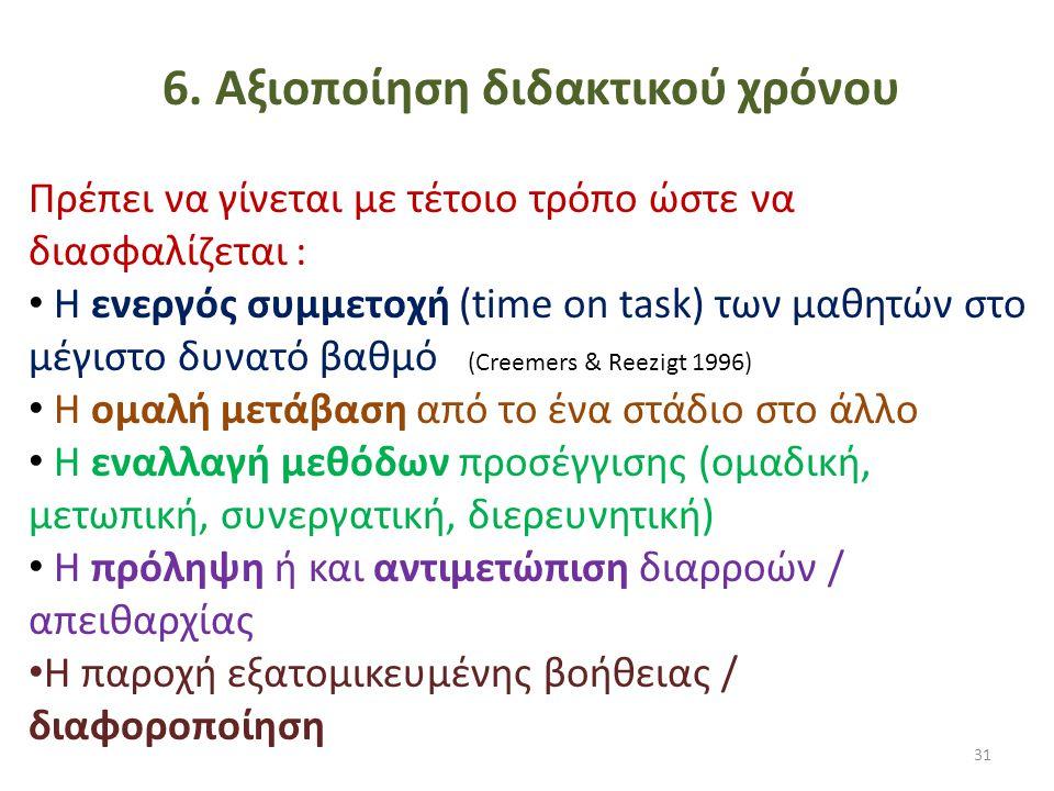 6. Αξιοποίηση διδακτικού χρόνου Πρέπει να γίνεται με τέτοιο τρόπο ώστε να διασφαλίζεται : • Η ενεργός συμμετοχή (time on task) των μαθητών στο μέγιστο