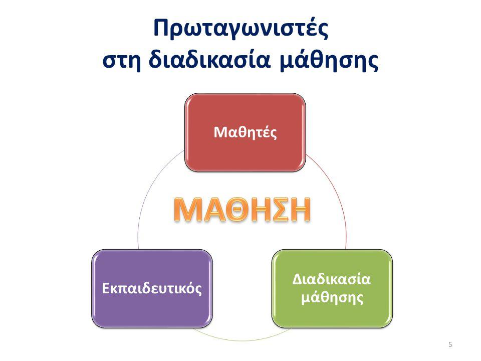 Πρωταγωνιστές στη διαδικασία μάθησης 5 Μαθητές Διαδικασία μάθησης Εκπαιδευτικός