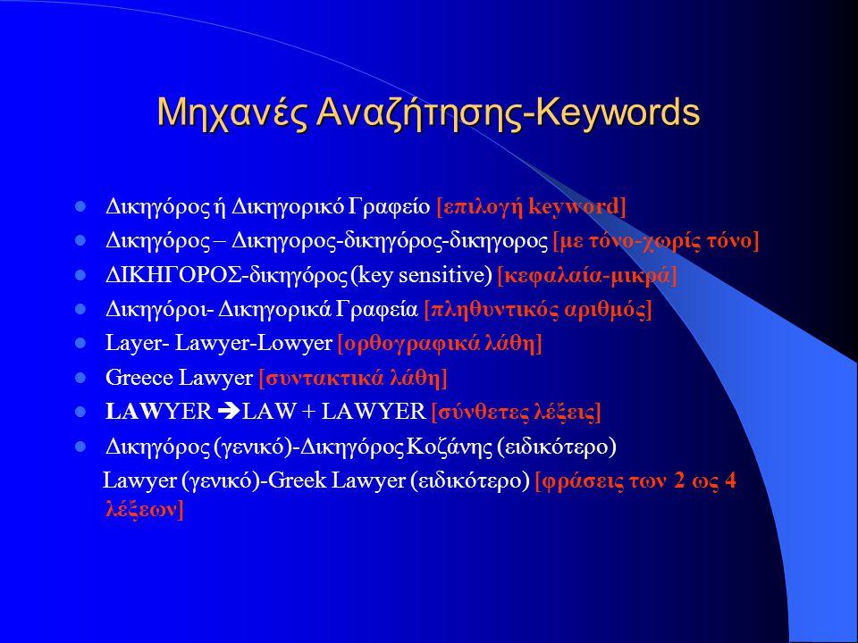 Μηχανές Αναζήτησης-Μυστικά καλής κατάταξης  Keywords (λέξεις κλειδιά)  Spam  Title (τίτλος Ιστοσελίδας)  Description (Περιγραφή Ιστοσελίδας)  Κείμενο ιστοσελίδας