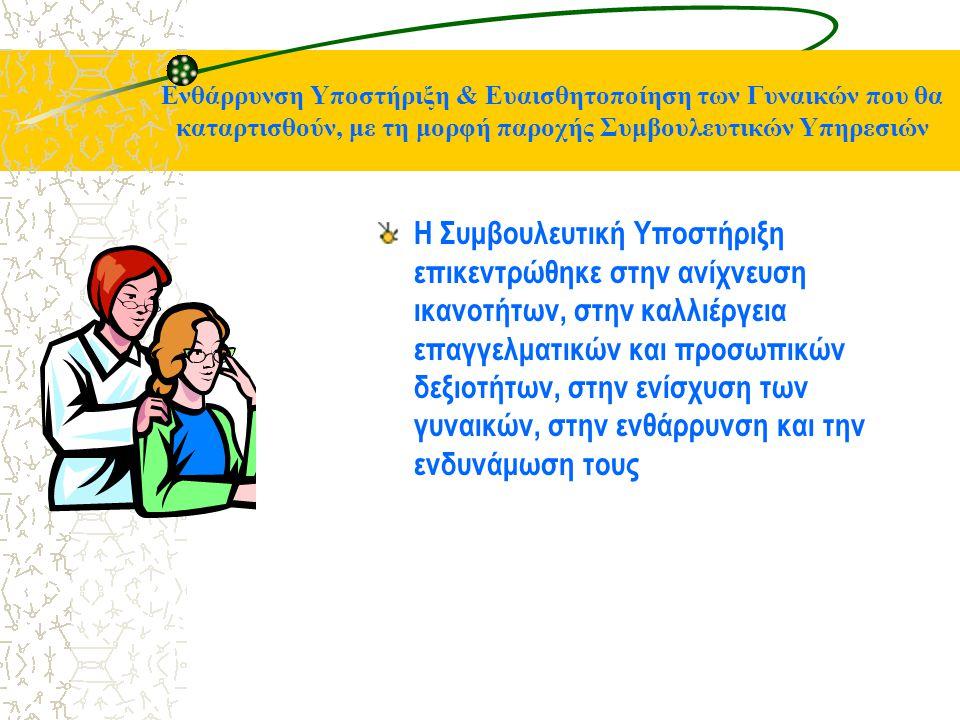 Ενθάρρυνση Υποστήριξη & Ευαισθητοποίηση των Γυναικών που θα καταρτισθούν, με τη μορφή παροχής Συμβουλευτικών Υπηρεσιών Η Συμβουλευτική Υποστήριξη επικεντρώθηκε στην ανίχνευση ικανοτήτων, στην καλλιέργεια επαγγελματικών και προσωπικών δεξιοτήτων, στην ενίσχυση των γυναικών, στην ενθάρρυνση και την ενδυνάμωση τους