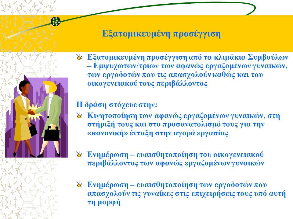 Εξατομικευμένη προσέγγιση Εξατομικευμένη προσέγγιση από τα κλιμάκια Συμβούλων – Εμψυχωτών/τριων των αφανώς εργαζομένων γυναικών, των εργοδοτών που τις απασχολούν καθώς και του οικογενειακού τους περιβάλλοντος Η δράση στόχευε στην: Κινητοποίηση των αφανώς εργαζομένων γυναικών, στη στήριξή τους και στο προσανατολισμό τους για την «κανονική» ένταξη στην αγορά εργασίας Ενημέρωση – ευαισθητοποίηση του οικογενειακού περιβάλλοντος των αφανώς εργαζομένων γυναικών Ενημέρωση – ευαισθητοποίηση των εργοδοτών που απασχολούν τις γυναίκες στις επιχειρήσεις τους υπό αυτή τη μορφή