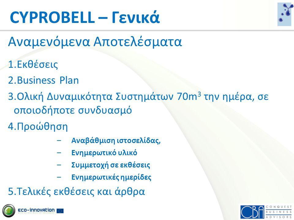 Αναμενόμενα Αποτελέσματα 1.Εκθέσεις 2.Business Plan 3.Ολική Δυναμικότητα Συστημάτων 70m 3 την ημέρα, σε οποιοδήποτε συνδυασμό 4.Προώθηση –Αναβάθμιση ι
