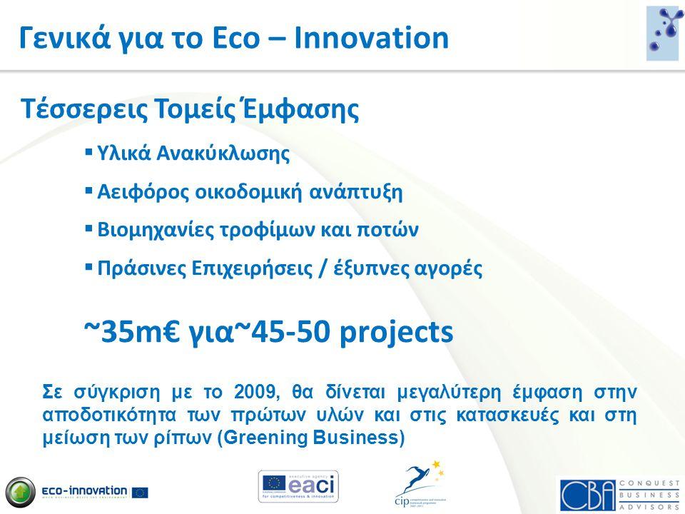 Γενικά για το Eco – Innovation  Υλικά Ανακύκλωσης  Αειφόρος οικοδομική ανάπτυξη  Βιομηχανίες τροφίμων και ποτών  Πράσινες Επιχειρήσεις / έξυπνες α