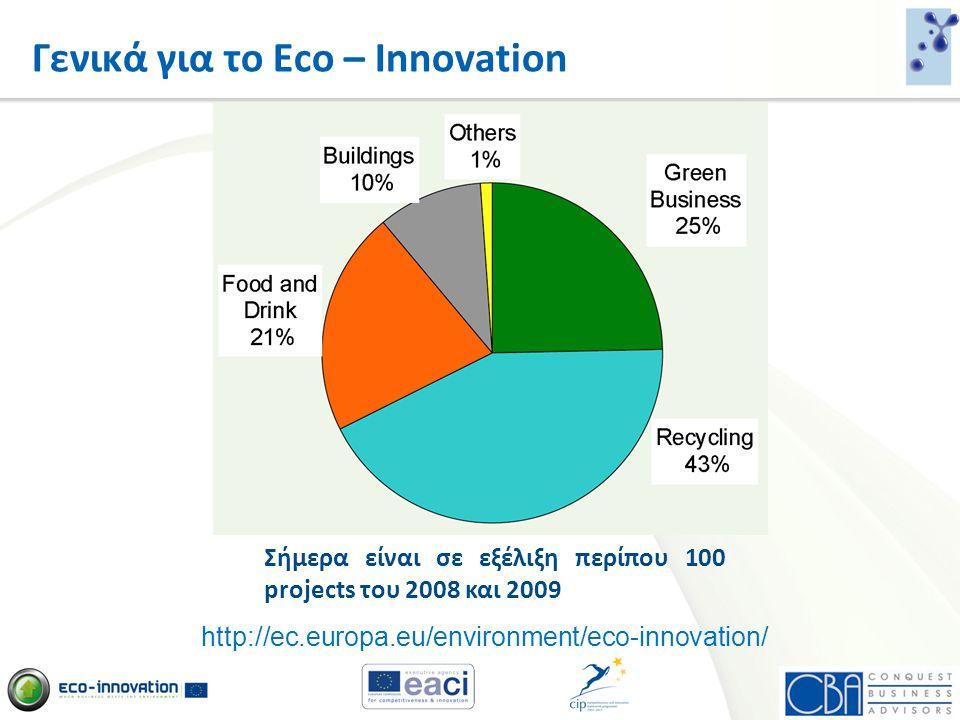 Γενικά για το Eco – Innovation http://ec.europa.eu/environment/eco-innovation/ Σήμερα είναι σε εξέλιξη περίπου 100 projects του 2008 και 2009