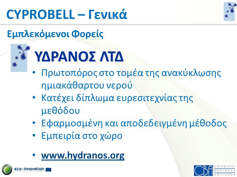 CYPROBELL – Γενικά Εμπλεκόμενοι Φορείς •20 Χρόνια Εμπειρίας στο τομέα των Συμβουλευτικών Υπηρεσιών •Συμμετοχή σε άλλα Ευρωπαϊκά Προγράμματα •Τεχνογνωσία και Εξειδίκευση σε διαχείριση Προγραμμάτων •Επαφές με άλλες χώρες www.cba.com.cy