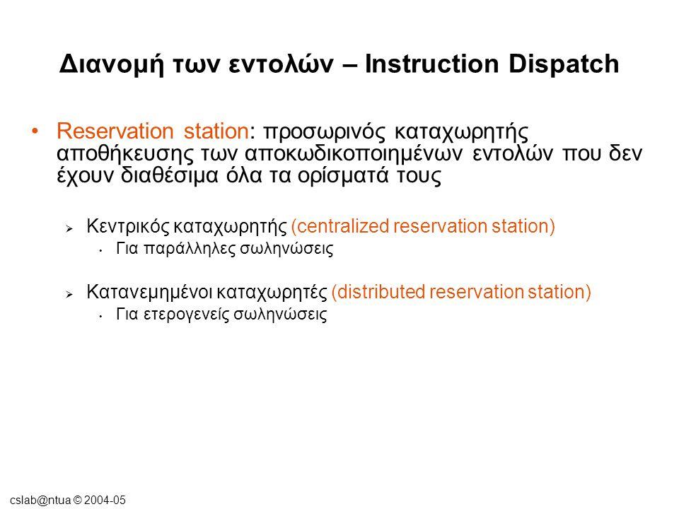 cslab@ntua © 2004-05 Διανομή των εντολών – Instruction Dispatch •Reservation station: προσωρινός καταχωρητής αποθήκευσης των αποκωδικοποιημένων εντολώ