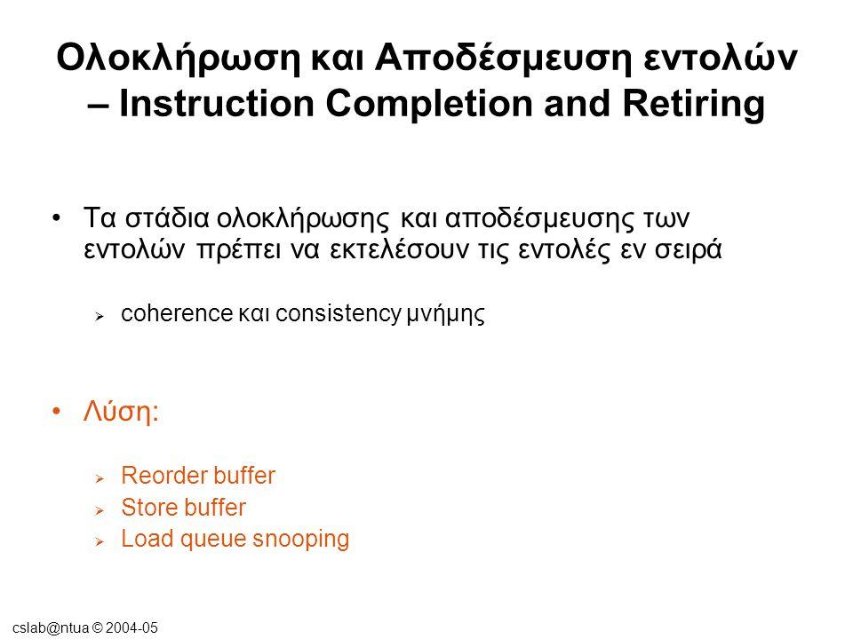 cslab@ntua © 2004-05 Ολοκλήρωση και Αποδέσμευση εντολών – Instruction Completion and Retiring •Τα στάδια εντολών:  Fetch  Decode  Dispatch  Issue  Execute  Finish  Complete  Retire