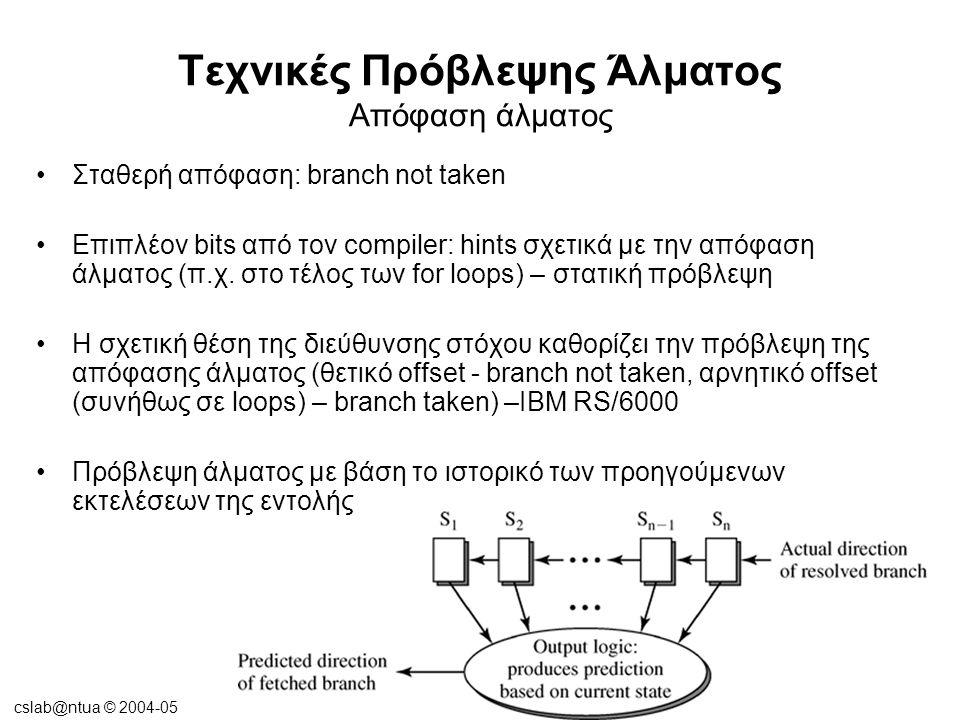 cslab@ntua © 2004-05 Τεχνικές Πρόβλεψης Άλματος Απόφαση άλματος Πρόβλεψη άλματος με αλγόριθμο 2-bits Επέκταση του BTB για να συμπεριληφθούν και τα bits πρόβλεψης άλματος