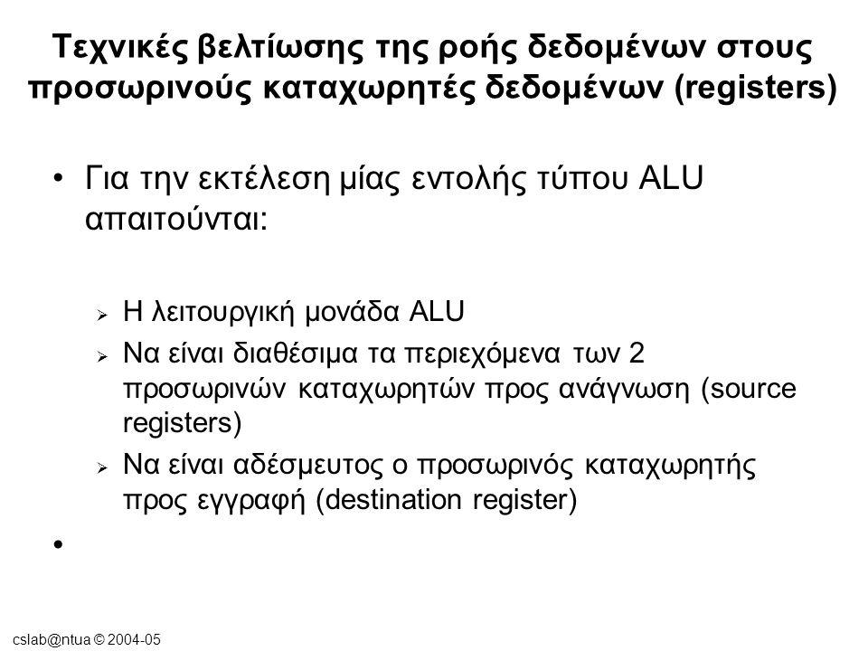 cslab@ntua © 2004-05 Τεχνικές βελτίωσης της ροής δεδομένων στους προσωρινούς καταχωρητές δεδομένων (registers) •Register recycling (για την αντιστοίχηση των άπειρων -κατά τον compiler- καταχωρητών στον περιορισμένο αριθμό των φυσικών γίνεται ανακύκλωση των ίδιων φυσικών καταχωρητών) •Register renaming (μετονομασία-χρήση πολλαπλών ονομάτων για τους ίδιους φυσικούς καταχωρητές ώστε να αποφευχθούν εξαρτήσεις τύπου WAR ή WAW)
