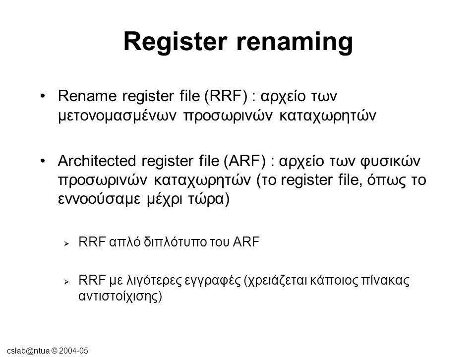 cslab@ntua © 2004-05 Register renaming •Rename register file (RRF) : αρχείο των μετονομασμένων προσωρινών καταχωρητών •Architected register file (ARF)