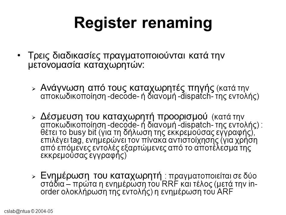 cslab@ntua © 2004-05 Register renaming ανάγνωση, δέσμευση καταχωρητή προορισμού, ενημέρωση καταχωρητή