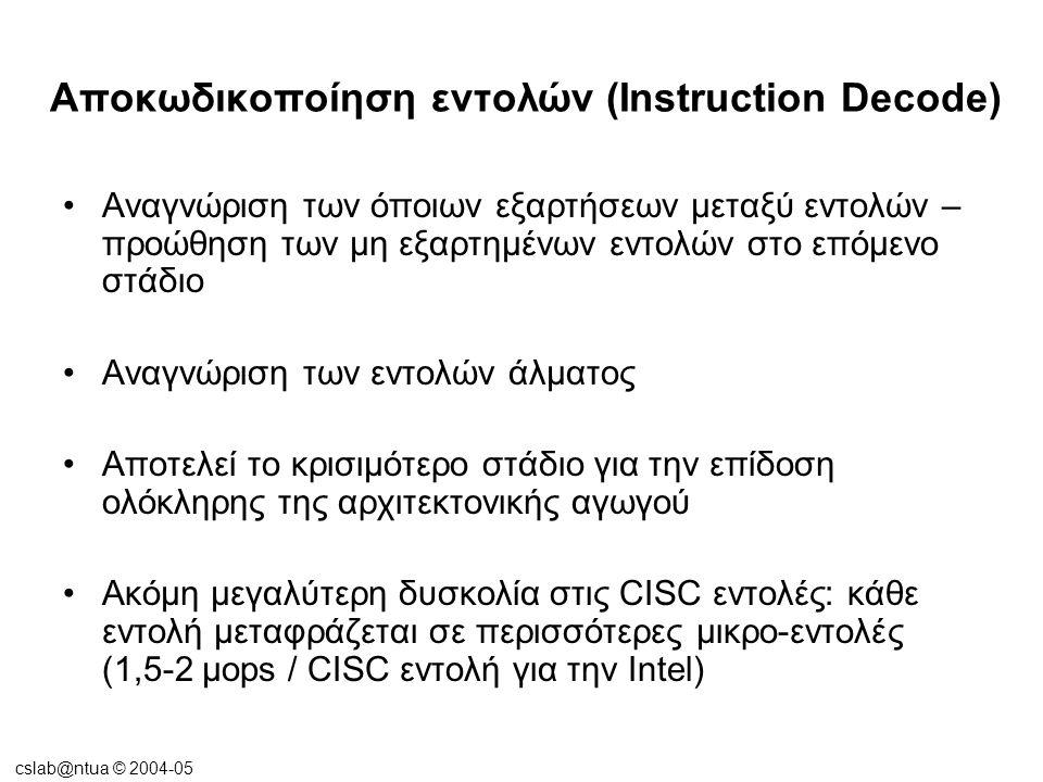 cslab@ntua © 2004-05 Αποκωδικοποίηση εντολών (Instruction Decode) •Αναγνώριση των όποιων εξαρτήσεων μεταξύ εντολών – προώθηση των μη εξαρτημένων εντολ