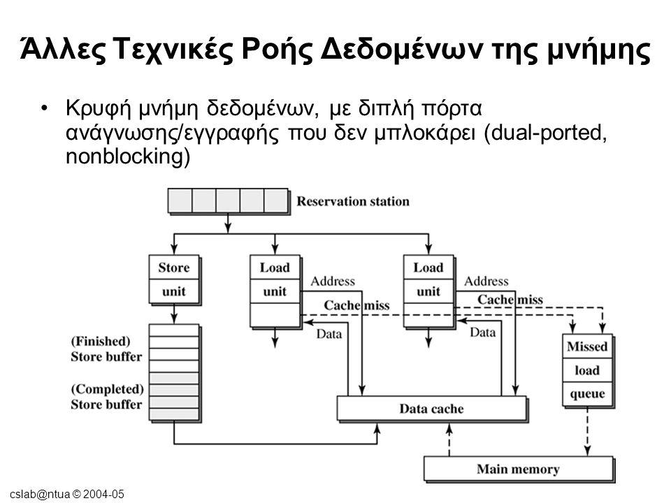 cslab@ntua © 2004-05 Άλλες Τεχνικές Ροής Δεδομένων της μνήμης •Κρυφή μνήμη δεδομένων, με διπλή πόρτα ανάγνωσης/εγγραφής που δεν μπλοκάρει (dual-ported