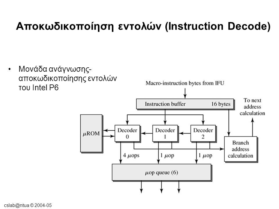 cslab@ntua © 2004-05 Αποκωδικοποίηση εντολών (Instruction Decode) •Η αποκωδικοποίηση των εντολών CISC σε παράλληλες αρχιτεκτονικές αγωγού ή οι πολύ πλατιές σωληνώσεις  Απαιτεί πολλαπλά στάδια αγωγού.