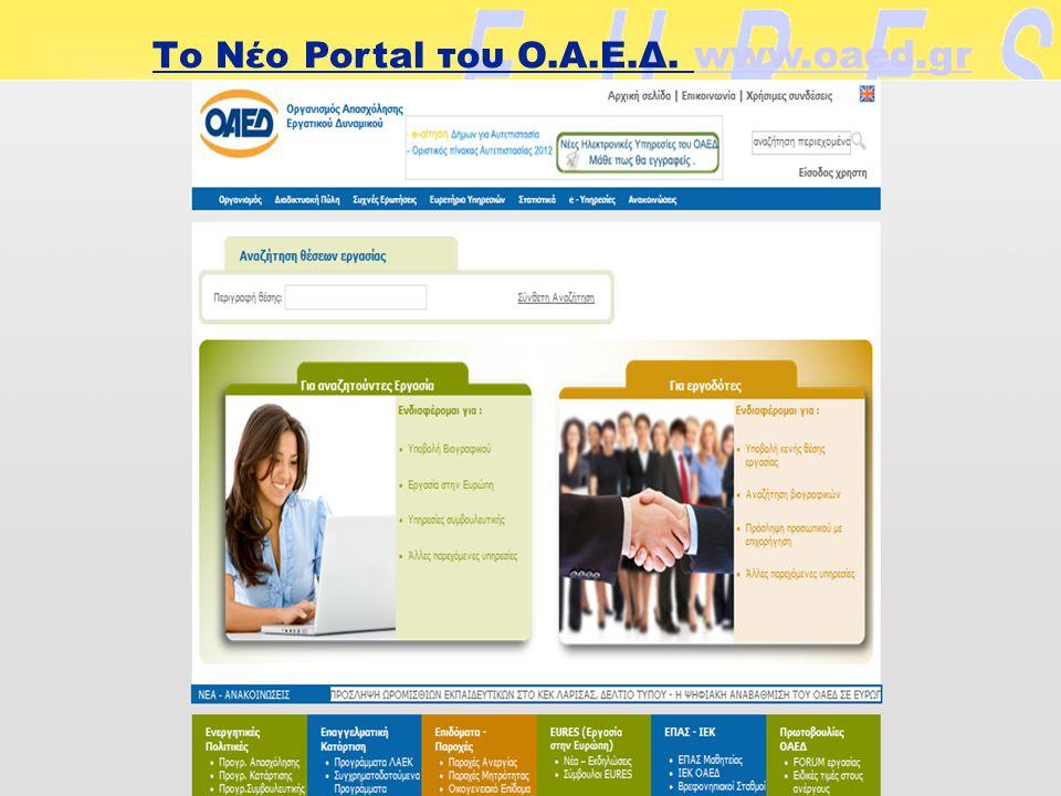 Το Νέο Portal του Ο.Α.Ε.Δ. www.oaed.gr www.oaed.gr