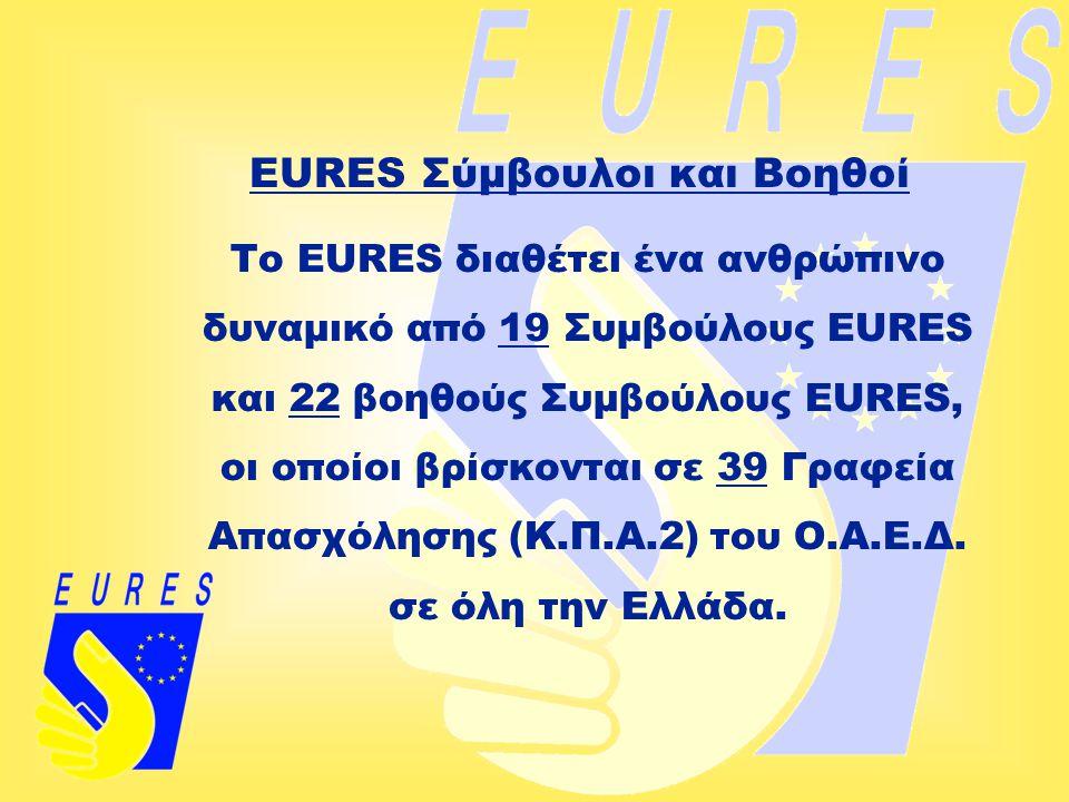 EURES Σύμβουλοι και Βοηθοί Το EURES διαθέτει ένα ανθρώπινο δυναμικό από 19 Συμβούλους EURES και 22 βοηθούς Συμβούλους EURES, οι οποίοι βρίσκονται σε 3