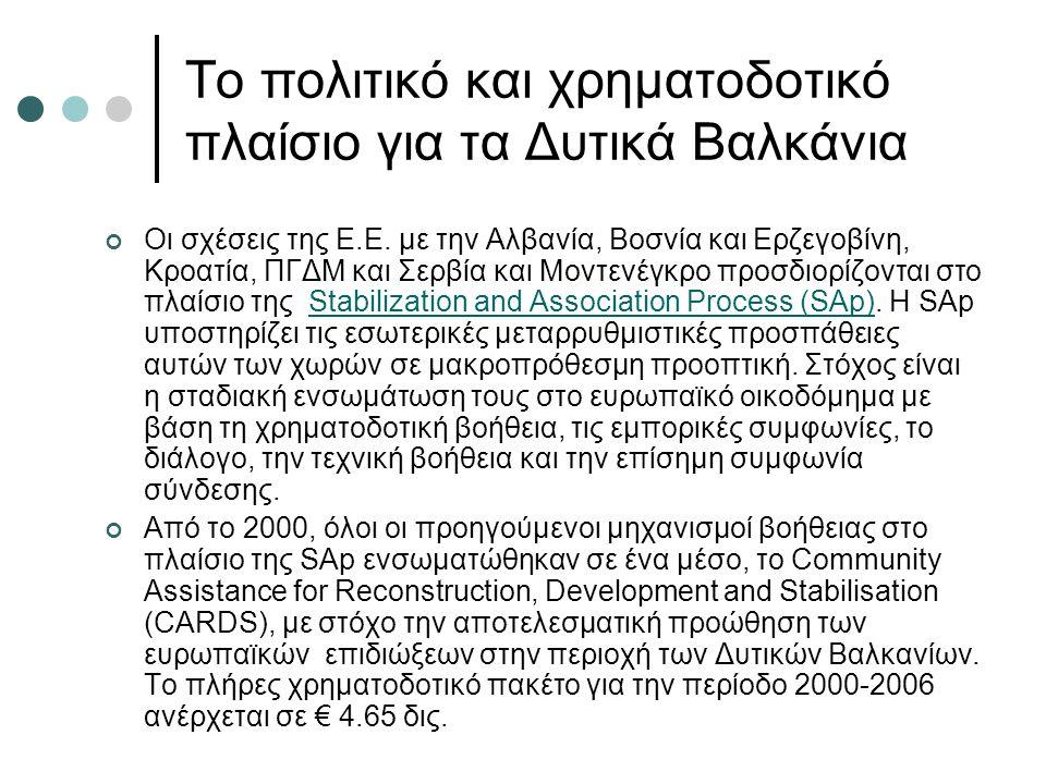 Το πολιτικό και χρηματοδοτικό πλαίσιο για τα Δυτικά Βαλκάνια Οι σχέσεις της Ε.Ε.