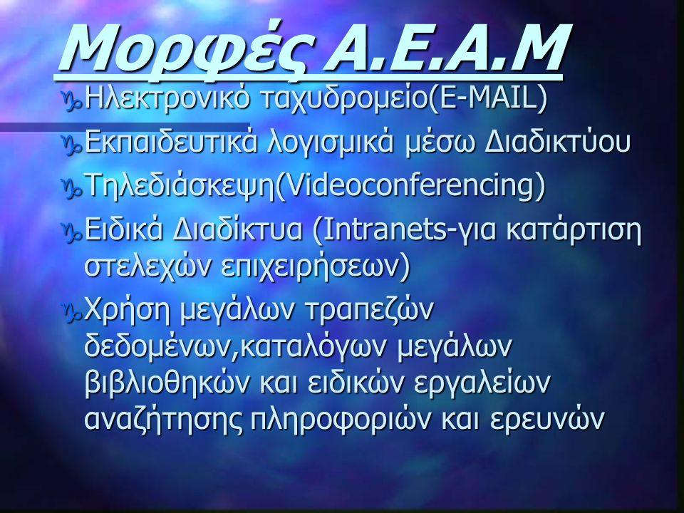 Μορφές Α.Ε.Α.Μ g Ηλεκτρονικό ταχυδρομείο(E-MAIL) g Εκπαιδευτικά λογισμικά μέσω Διαδικτύου g Τηλεδιάσκεψη(Videoconferencing) g Ειδικά Διαδίκτυα (Intran