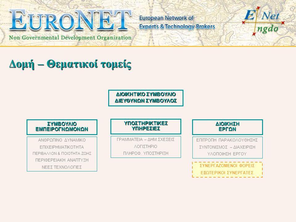 Εμπειρία στελεχών •Δημόσια διαβούλευση πολιτών για το περιβάλλον και την κοινωνική συνοχή •Επιχειρησιακά προγράμματα για ΟΤΑ και περιφερειακές αρχές •Προγράμματα ανάπτυξης για απομονωμένες και νησιώτικες περιοχές •Καλοκαιρινά σχολεία επιχειρηματικότητας για μαθητές - σπουδαστές •Μονάδα διασύνδεσης εκπαίδευσης και αγοράς εργασίας •Προγράμματα κοινωνικής οικονομίας και γυναικείας επιχειρηματικότητας •Αναδιοργάνωση και προώθηση υπηρεσιών τουριστικών επιχειρήσεων •Σεμινάρια και δράσεις περιβαλλοντικής εκπαίδευσης και προστασίας φυσικών πόρων •Εφαρμογές GIS για αντιμετώπιση φυσικών καταστροφών •Προγράμματα κατάρτισης στελεχών υγείας •Προγράμματα αγωγής και προαγωγής υγείας σε ευαίσθητες ομάδες πληθυσμού •Προγράμματα συμβουλευτικής και υποστήριξης ατόμων με ειδικές ανάγκες •Δημιουργία εκπαιδευτικών και ενημερωτικών multimedia προϊόντων •Πληροφοριακά συστήματα διαχείρισης για δημόσιους οργανισμούς