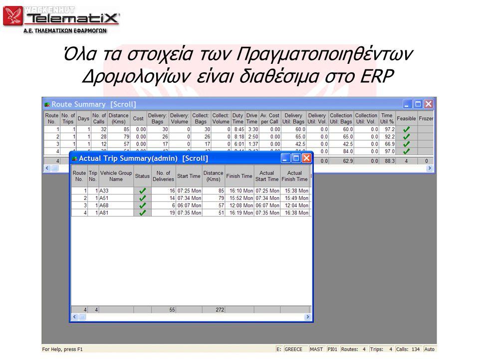 Όλα τα στοιχεία των Πραγματοποιηθέντων Δρομολογίων είναι διαθέσιμα στο ERP