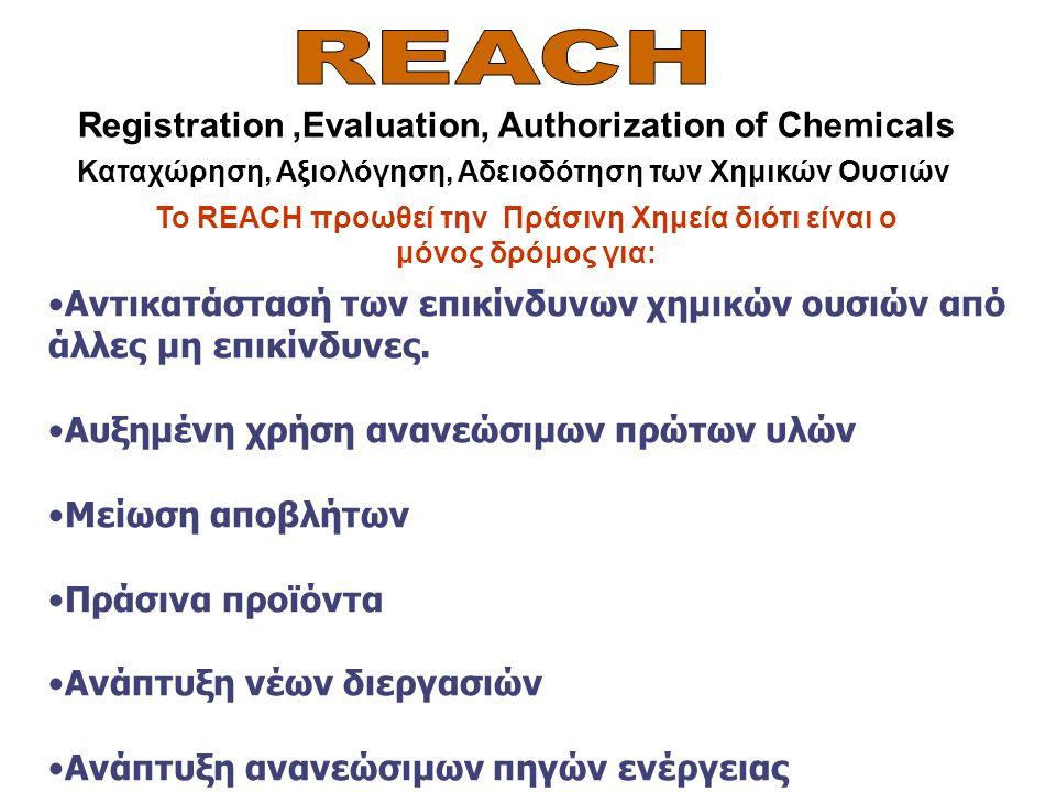 Registration,Evaluation, Authorization of Chemicals Καταχώρηση, Αξιολόγηση, Αδειοδότηση των Χημικών Ουσιών Το REACH προωθεί την Πράσινη Χημεία διότι ε