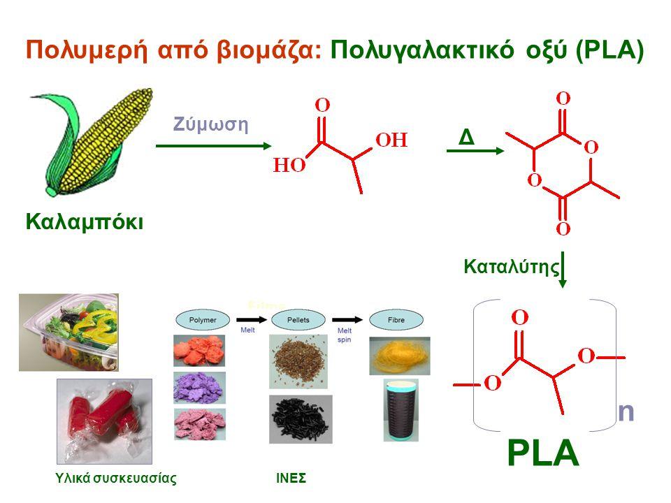 Πολυμερή από βιομάζα: Πολυγαλακτικό οξύ (PLA) Films n PLA Υλικά συσκευασίας ΙΝΕΣ Ζύμωση Δ Καταλύτης Καλαμπόκι