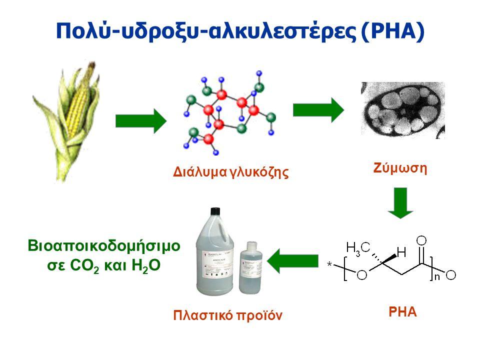 Πολύ-υδροξυ-αλκυλεστέρες (PHA) Διάλυμα γλυκόζης PHA Πλαστικό προϊόν Ζύμωση Βιοαποικοδομήσιμο σε CO 2 και H 2 O