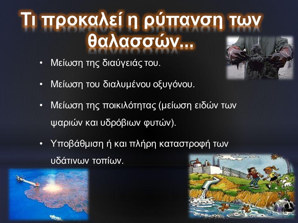 •Μείωση της διαύγειάς του. •Μείωση του διαλυμένου οξυγόνου. •Μείωση της ποικιλότητας (μείωση ειδών των ψαριών και υδρόβιων φυτών). •Υποβάθμιση ή και π