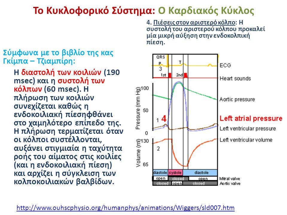 Το Κυκλοφορικό Σύστημα: Ο Καρδιακός Κύκλος Σύμφωνα με το βιβλίο της κας Γκίμπα – Τζιαμπίρη: Η διαστολή των κοιλιών (190 msec) και η συστολή των κόλπων