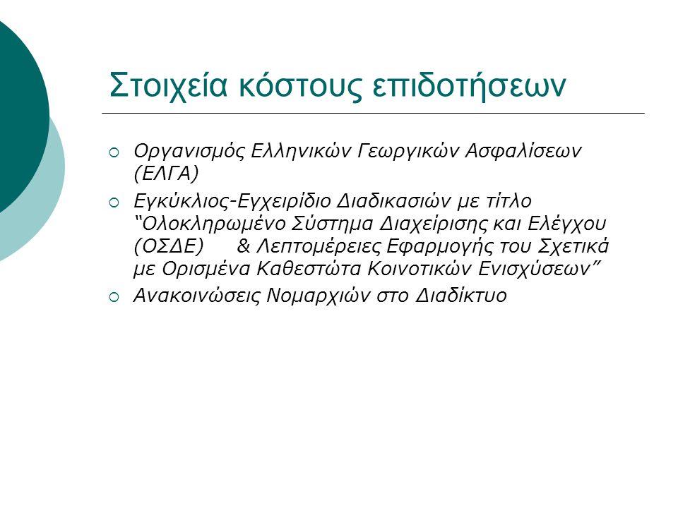 """Στοιχεία κόστους επιδοτήσεων  Οργανισμός Ελληνικών Γεωργικών Ασφαλίσεων (ΕΛΓΑ)  Εγκύκλιος-Εγχειρίδιο Διαδικασιών με τίτλο """"Ολοκληρωμένο Σύστημα Διαχ"""