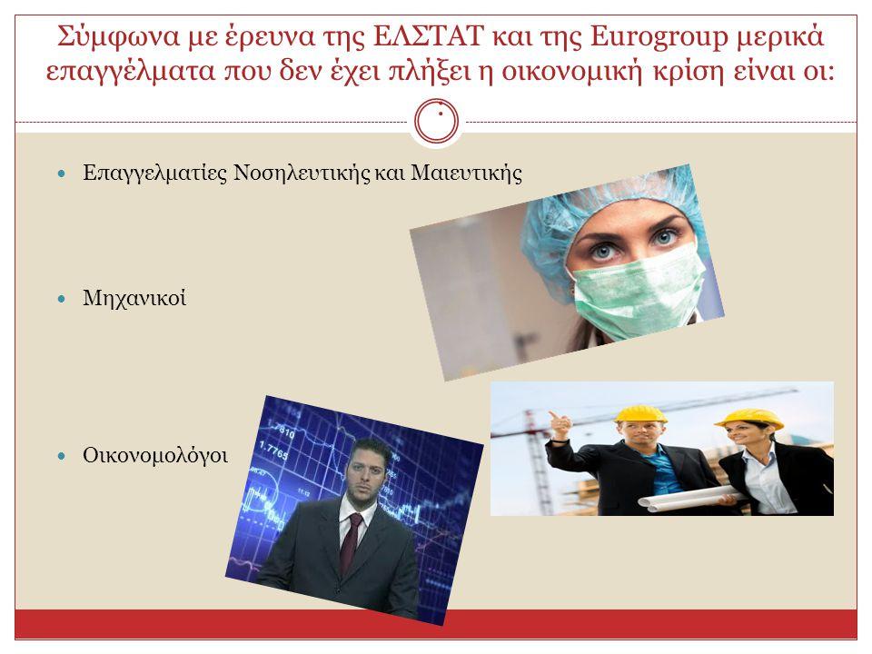 Σύμφωνα με έρευνα της ΕΛΣΤΑΤ και της Eurogroup μερικά επαγγέλματα που δεν έχει πλήξει η οικονομική κρίση είναι οι: :  Επαγγελματίες Νοσηλευτικής και