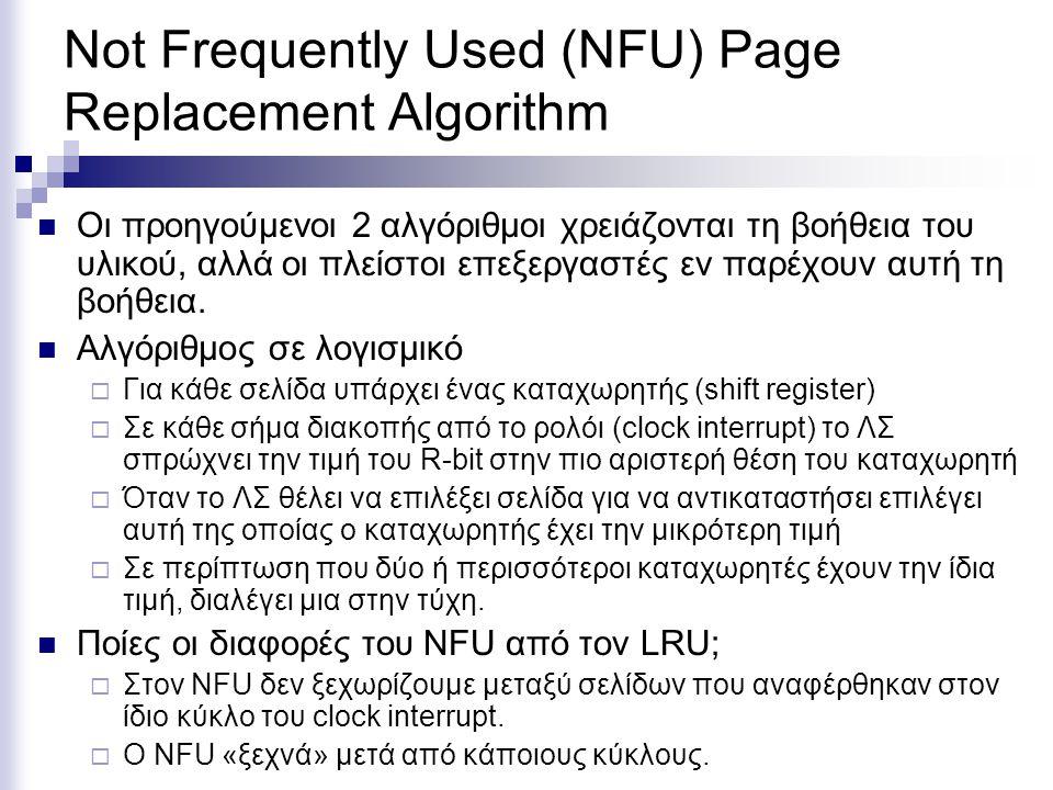 Not Frequently Used (NFU) Page Replacement Algorithm  Οι προηγούμενοι 2 αλγόριθμοι χρειάζονται τη βοήθεια του υλικού, αλλά οι πλείστοι επεξεργαστές εν παρέχουν αυτή τη βοήθεια.
