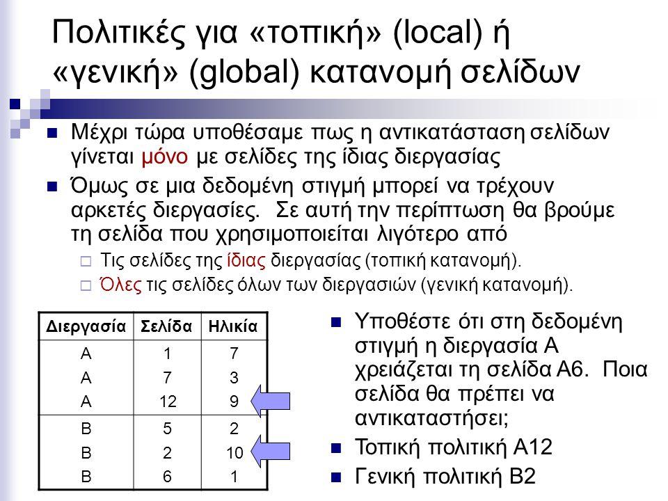 Πολιτικές για «τοπική» (local) ή «γενική» (global) κατανομή σελίδων  Μέχρι τώρα υποθέσαμε πως η αντικατάσταση σελίδων γίνεται μόνο με σελίδες της ίδιας διεργασίας  Όμως σε μια δεδομένη στιγμή μπορεί να τρέχουν αρκετές διεργασίες.