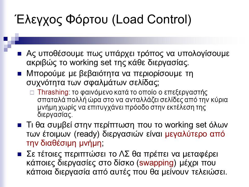Έλεγχος Φόρτου (Load Control)  Ας υποθέσουμε πως υπάρχει τρόπος να υπολογίσουμε ακριβώς το working set της κάθε διεργασίας.